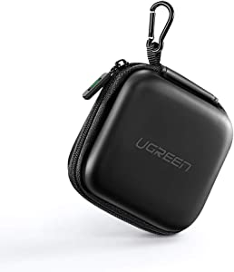 UGREEN Earbud Case Earphone Carrying Case Holder Storage Bag Headphone Mini Pouch Compatible for Wireless Beats Bose Earbuds, Airpods, Bluetooth Headset, Wall Charger USB Adapter Cable with Carabiner