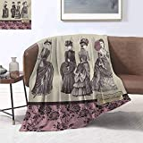 smllmoonDecor Victorian Warm Microfiber All Season Blanket Ladies Clothes Fashion History Dress Handbag Feather Gloves Floral Design Print Print Artwork Image 50