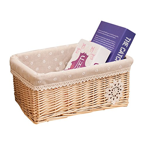 Aneil Woven Basket Wicker Natural with Liner Rattan Storage Box For Indoor Office Living Room Decorations (9x6.7x4.7 in) (B) by Aneil