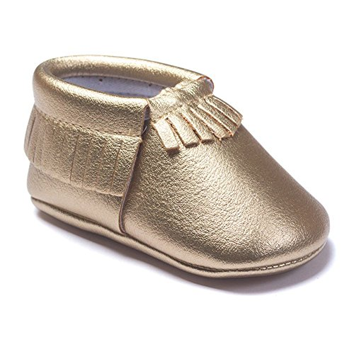Edal Baby Kids Tassel PU Leather Shoes Toddler Moccasin Soft Sole Crib Shoes Rich Gold 0-6 Months