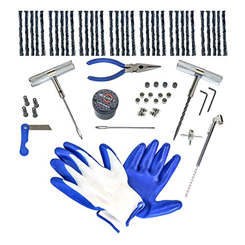 71 Piece] Heavy Duty Tire Repair Kit with Gloves | Universal