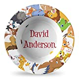 Animals Plastic Bowl - Microwave Safe - Composite Polymer (Personalized)
