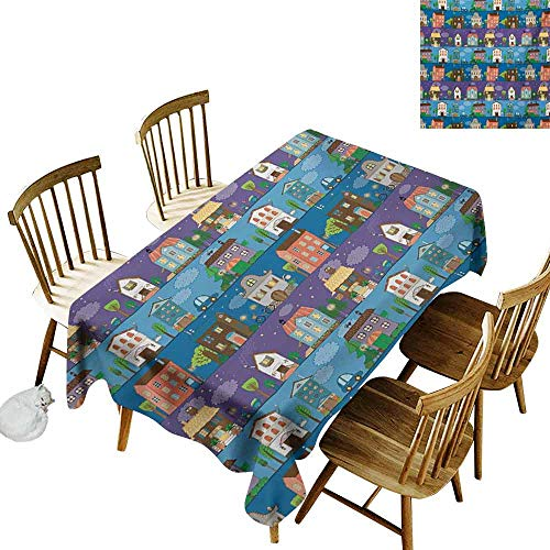 Mannwarehouse Urban Polyester Tablecloth Hand Drawn Style Colorful Townhouses City Architecture Twilight Trees Cars and Owls Party W54 x L72 Multicolor -