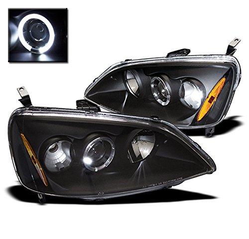 ZMAUTOPARTS Honda Civic Halo Projector Headlight Lamp JDM Black DX EX GX Hx LX Pair