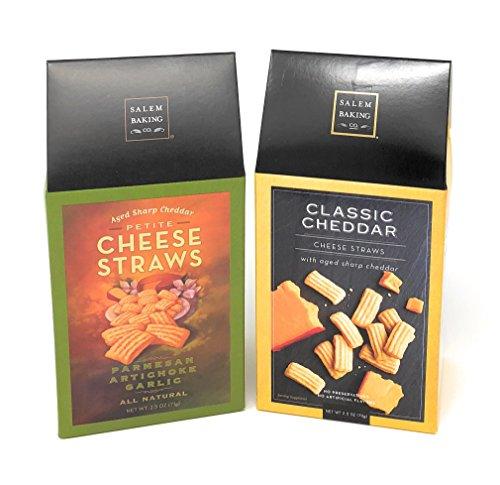 Salem Baking Co. Cheese Straws 2 Pack Bundle (2.5 oz. Parmesan Artichoke Garlic, 2.5 oz. Classic (Classic Cheese Straws)
