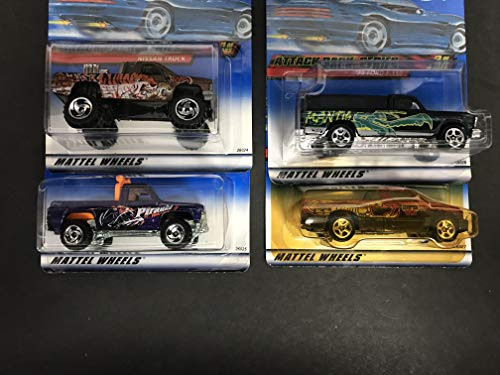 2000 Hot Wheels ATTACK PACK SERIES diecast 1/64 scale 4-car set DODGE RAM 1500 Power Plower '79 Ford F-150 NISSAN TRUCK