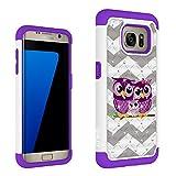 Galaxy S7 Edge Case, HLCT Rugged Bling Diamond Soft-Interior TPU Bumper & Hard PC Shell Back Dual-Layer Case (2016) (Owl Purple)