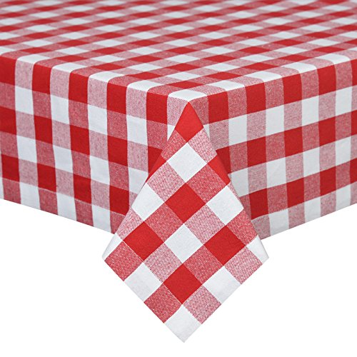 VEEYOO 52 x 70 inch (132 x 178 cm) Rectangular 100% Cotton Plaid Tablecloth Gingham for Home Kitchen Outdoor Use, Red & White Buffalo Check (Red White And Cloth Wedding Table)
