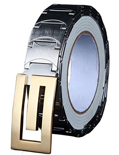 Menschwear Men's Stainless Steel Belt Slide Buckle Adjustable 32mm 159 Golden 130cm by Menschwear