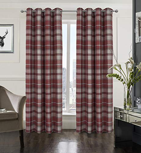 Alexandra Cole Plaid Tartan Check Modern Classic Window Treatment Curtain/Drapes for Living Room Red 2 Panels 54X63 Inch