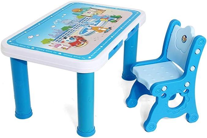 CHAXIA Silla De Mesa Infantil Azul Aprendizaje Mesa De Juego con Cajon Estable Teniendo Fuerte Conjunto De Mesas Y Sillas (Color : A): Amazon.es: Hogar