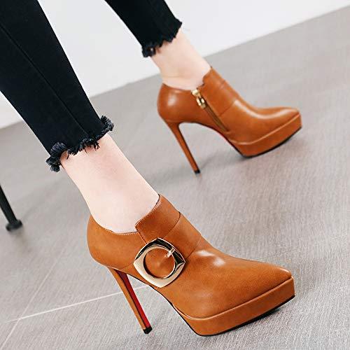 HRCxue Pumps Mode Spitze Wasserdichte Plattform einzelne Stiefel nackte Stiefel sexy Gürtelschnalle Stiletto Heels