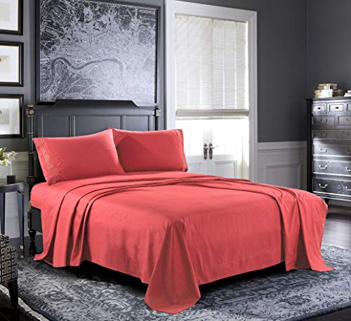 Pure Bedding Bed Sheets - Queen Sheet Set [4-Piece, Coral] - Hotel Luxury 1800 Brushed Microfiber - Soft and Breathable - Deep Pocket Fitted Sheet, Flat Sheet, Pillow Cases