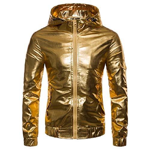 Full Men Glitter Outwear Windbreaker Jackets Hood Zip Howme Windproof golden I7xS7F