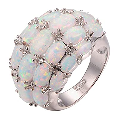 CYWNA White Fire Opal 925 Sterling Silver Filled Engagement Wedding Party Ring Size 6-10