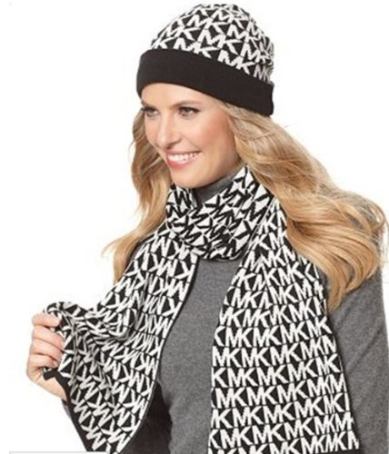 Michael Kors MK Signature Black/White Knit Scarf and Hat