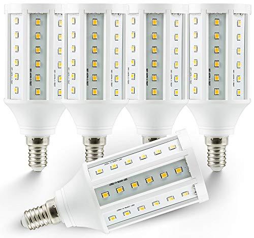 5 x E14 Bombilla LED Corn 10 W blanco cálido 3000 K 950lumen 320 ° (equivalente a: 75 W) Bombilla LED Pera: Amazon.es: Iluminación
