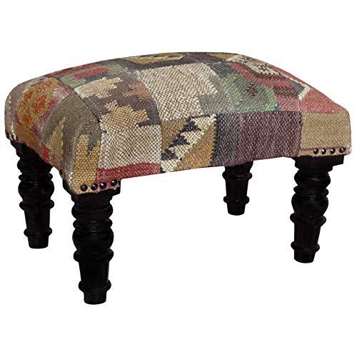 Handmade Indo Kilim Upholstered Footstool (India) Beige Geometric Traditional Pattern Specialty Fabric Wood Finish (Upholstered Kilim Furniture)