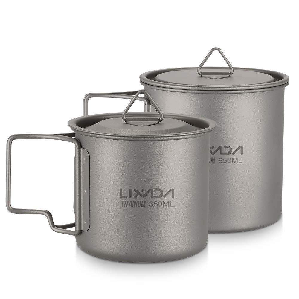Lixada 2PCS Titanium Cup Portable Ultralight Mug Camping Picnic Water Cup Mug with Foldable Handle by Lixada