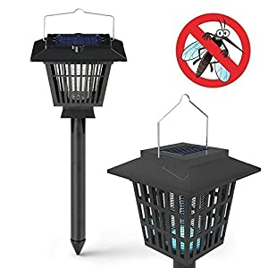 CuZiLe New & Improved Solar Powered Zapper- Enhanced Outdoor Flying Insect Killer- Hang or Stake in the Ground- Cordless Garden Lamp- Portable LED Machine- Best Stinger for Mosquitoes/ Moths/ Flies