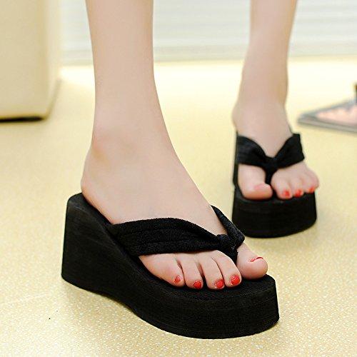 ZPPZZP Ms sandali pantofole a tacco alto pendenza clip piedi 39EU con il nero