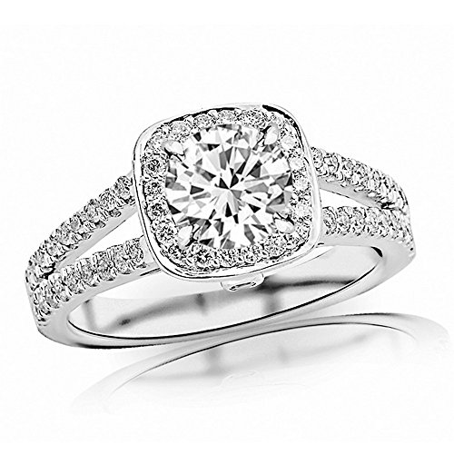 1.22 Ctw 14K White Gold Gorgeous Split Shank Double Row Halo Style And Bezel Set Round Diamond Engagement Ring (K Color SI2-I1 Clarity 0.74 Ct Round Cut Center)