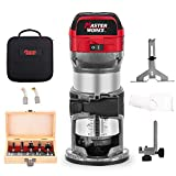 6.5-Amp 1.25 HP Compact Router with Fixed Base, 5 Trim Router Bits, Variable Speed, Edge Guide, Roller Guide and Dust Hood, 2 LED Lights, Masterworks MW104