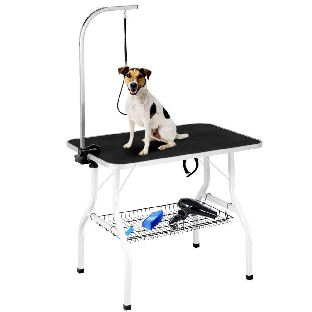 Yaheetech Pet Dog/Cat Grooming Table Foldable Height Adjustable - 36'' Drying Table w/Arm/Noose/Mesh Tray Maximum Capacity Up to 220lbs Black