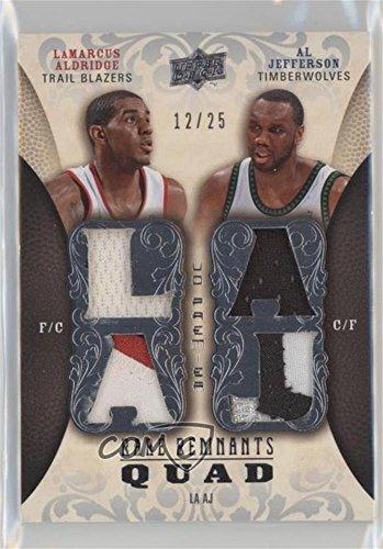 LaMarcus Aldridge; Al Jefferson #12/25 (Basketball Card) 2008-09 UD Premier - Rare Remnants Quad Jersey Patch #RR4-JA (09 Basketball)