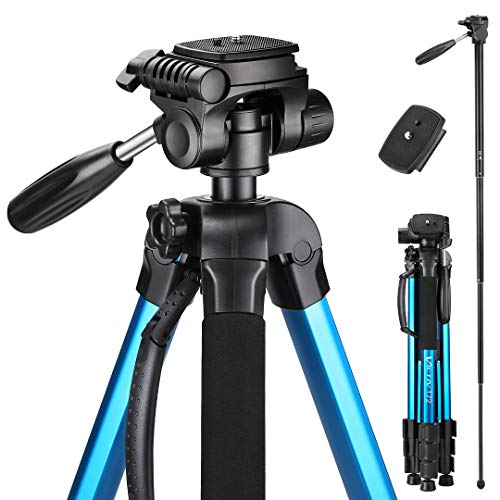 Victiv 72-inch Camera Tripod Aluminum T72 Max Height 182cm- Lightweight Tripod & Monopod Compact for Travel with 3-way Swivel Head and 2 Quick Release Plates for Canon Nikon DSLR Video Shooting - Blue (Camera Tripod For Canon Rebel)
