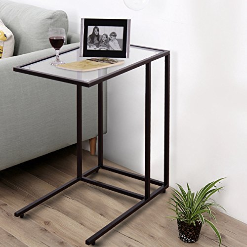 "TANGKULA 26"" Sofa Side Table Snack Table, Solid Glass Heavy Duty Portable Living Room Bedroom Couch C Table End Table Laptop Desk Coffee Tray"