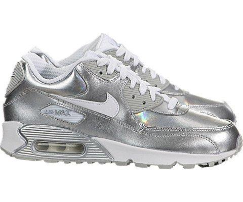 Nike Air Max 90 Premium Leather (Kids) - White / Metallic Silver-White, 6 M US