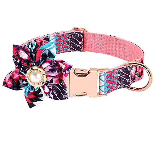 Flower Girl Dog Collar Detachable Flower Decoration Adjustable Cute Dog Collar for Small Medium Large Dogs Cats