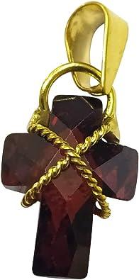 Sicuore Colgante Circonita Cruz para Mujer Hombre - Oro 9 Kilates Incluye Estuche para Regalo (Rubí Sintetico): Amazon.es: Joyería