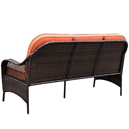 Sundale outdoor deluxe brown wicker patio furniture sofa 3 for Outdoor wicker patio furniture sofa 3 seater luxury comfort brown wicker couch