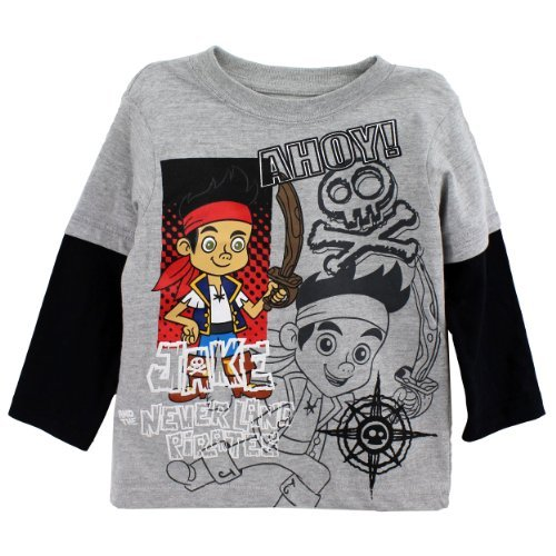 Disney Jake and the Neverland Pirates Toddler Boys Shirt Ahoy Tee Grey (2T)