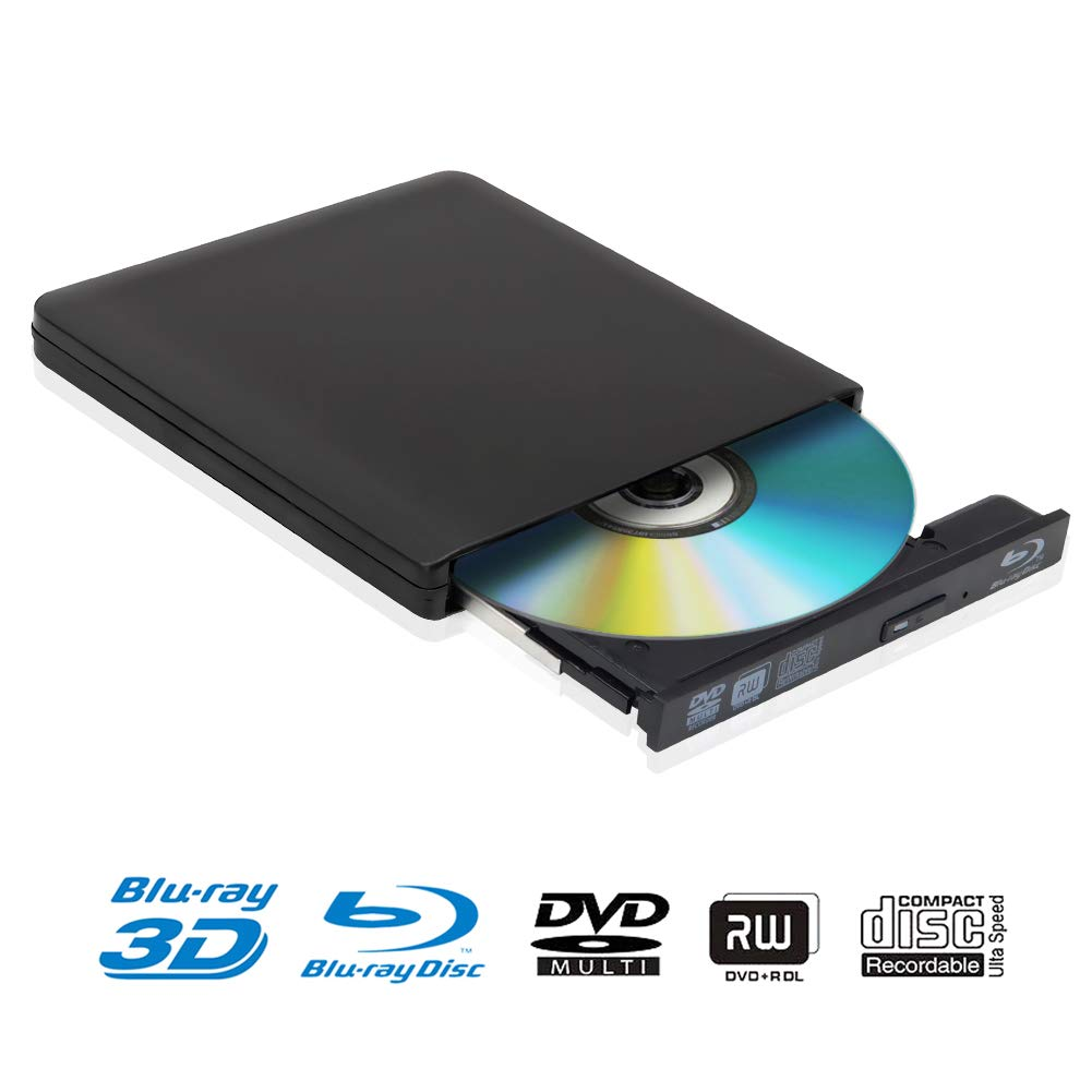 External 4K 3D Blu Ray DVD Drive Burner, Portable USB 3.0 Blu-Ray DVD Player Writer Reader Disk for Mac OS, Windows 7/8/10,Linxus, Laptop - Black