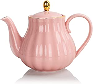 SWEEJAR Royal Teapot, Ceramic Tea Pot with Removable Stainless Steel Infuser, Blooming & Loose Leaf Teapot - 28 Ounce(Pink)