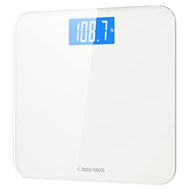 Innotech® Digital Bathroom Scale with Easy-to-Read Backlit LCD (White)