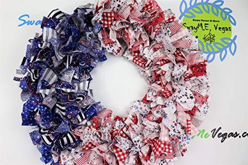 (American Flag Rag Wreath, Flag Fabric Wreath, July 4th Wreath, Independence Day Wreath, Patriotic Flag Wreath, Memorial Wreath, Fabric)