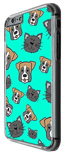 1504 - Cool Fun Trendy Cute dog and cats pets collage animals Design iphone 6 Plus / iphone 6 Plus S 5.5'' Coque Fashion Trend Case Coque Protection Cover plastique et métal - Clear