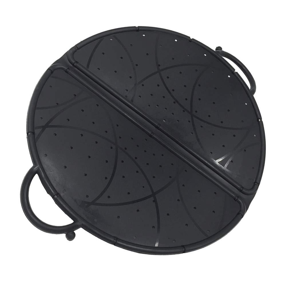 P PRETTYIA Black Foldable Colander/Strainer Splatter Screen Silicone Mixer Splash Guard Mixing Bowl Protector Lid Kitchen Tool