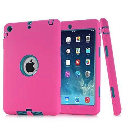 Ipad Mini Case, H&T(TM) Unique Silicone Design Soft Ipad Mini 3 In1 Hybrid Shockproof Protective Cover Case for Apple Ipad Mini 3/ 2/ 1 (Rosered) (Pink Ipad Mini Case compare prices)