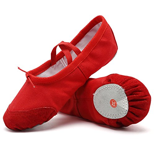 CIOR Ballet Slippers For Girls Classic Split-Sole Canvas Dance Gymnastics Yoga Shoes Flats(Toddler/Little Kid/Big Kid),VTW01,Red,31 – DiZiSports Store