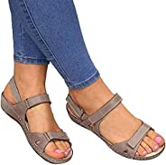 Women's Orthopedic Open Toe Leather Sandals, Comfy Hook and Loop Closure Sport Sandal, Casual Flat Arch Su