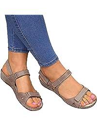 Sandals for Women, Flat Lightweight Open Toe Sandals Velcro Wide Width Sandals Women Sports Sandals for Summer Outdoor Hiking Walking Beach