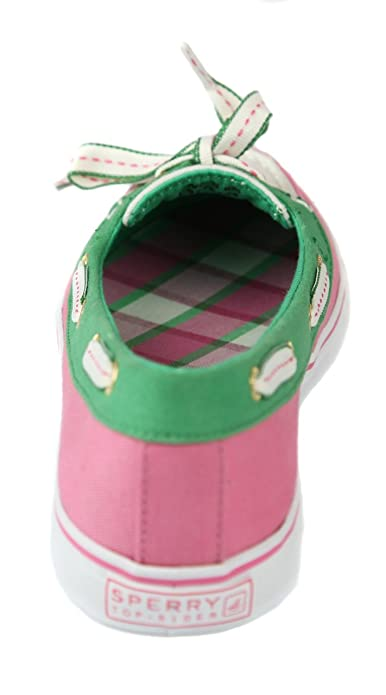 Sperry Náuticos de Lona Para Mujer Rosa Pink/Ivory/Green, Color Rosa, Talla 7 M