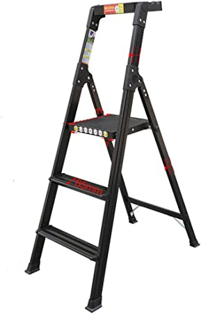 LJSJT Escalera de Heces de 3 Pasos Aluminio Multifunción Portátil Adecuado para Cocina de Oficina en casa Escalera de Seguridad Mesa de Herramientas rotativa (Color : Black): Amazon.es: Hogar
