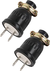 Straight Blade Plug, 10 Amp 125 Volt Plug, Straight Blade, Grounding, 2 Wire Plug Male Extension Cord, Replacement Electrical Plugs End, Black (2xPCS)