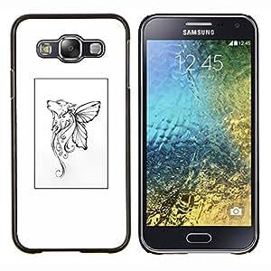 LECELL--Funda protectora / Cubierta / Piel For Samsung Galaxy E5 E500 -- Mariposa mítico cartel blanco del arte --